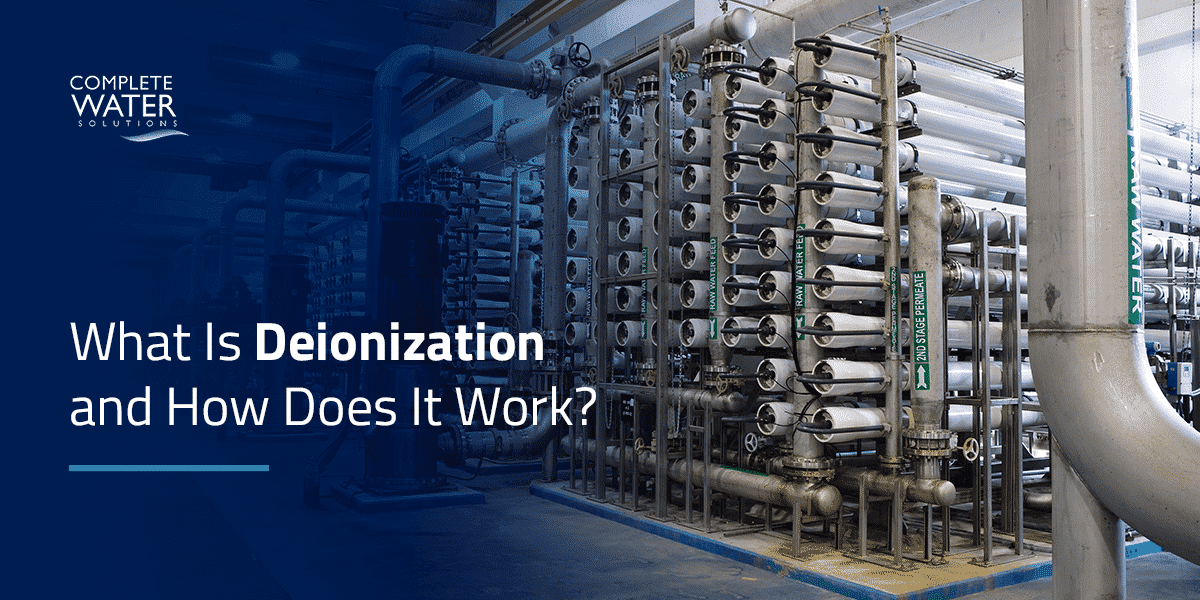 """<p>Your water deionization system can be a straightforward, one-tank setup or a more complex arrangement of DI tanks and other components. Many industrial deionization systems use supporting equipment such as <a href=""""https://complete-water.com/solutions/reverse-osmosis"""">reverse osmosis</a> and <a href=""""https://complete-water.com/solutions/ultraviolet"""">ultraviolet disinfection</a> to produce reliable high-purity water.</p> <p>The water treatment system you select ultimately depends on the purity level you require, though there are other considerations, too. Supporting equipment often requires higher upfront costs and frequent maintenance. However, this investment may be worthwhile in the long term. DI systems without accompanying demineralization methods will have a 10 to 20 times higher cost per gallon than those that use an RO system.</p>"""