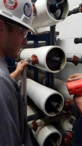 flushing old membrane piping