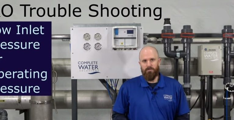 ro troubleshooting, low inlet pressure, complete water solutions
