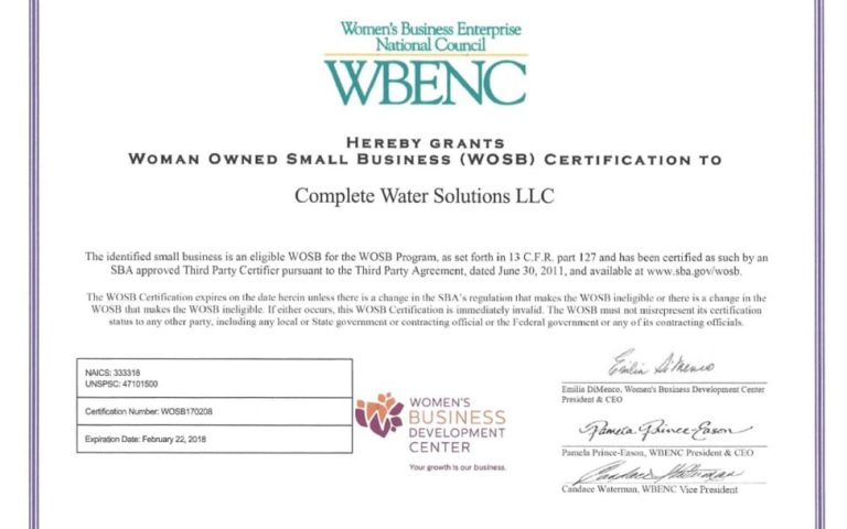 complete water certification, complete water solutions, certified woman-owned business