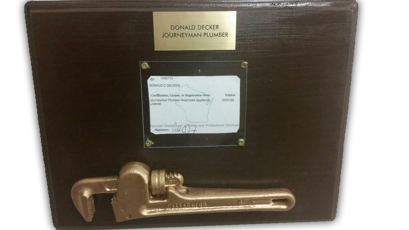 journeyman plumber, donald decker, complete water solutions