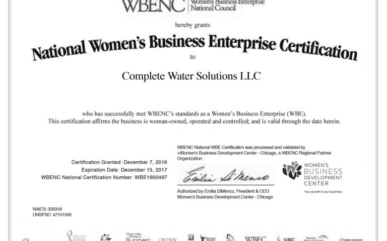 woman-owned business, complete water solutions, wbe certified